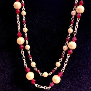 Cezanne genuine pearl and red beaded double strand